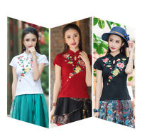 New Womens Embroidery T-shirt Floral Top Chinese Folk Short Sleeve Summer M-5XL