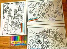 3 Large Velvet Colouring Picture Boards Frozen Toy Story 24 Felt Tip Fibre Pens