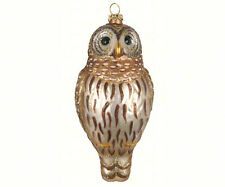 Beautiful Barred Owl Bird Cobane Hand Blown Glass Christmas Tree Ornament