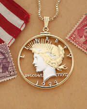 "United States Head of Liberty Pendant Hand Cut Peace Dollar, 1-1/2""( # 326 )"