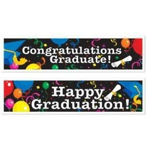 "Graduation All-Weather 5-Foot Banner Set 15"" x 5' Plastic Graduation Decorations"