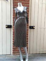Malene Birger Brown Beige Gold 'Yasmeen' Silky Feel Sunflower Dress Small 10
