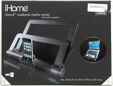 iHome iStand Notebook Media Center with Built-In Speakers Black ipod iphone Dock