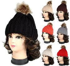 Winter Warm Men Womens Beanie Cable Knit  Fox Fur POM POM Crochet Beanie hat