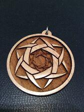 "3D Star 1.75"" Pendant Maple Wood Merkaba Necklace Piercing The Veil Body Travel"