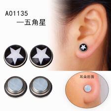 Magnetic Stud Fake Earrings Women Men Reading Glass Cute Star No Piercing