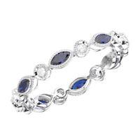 0.70Ct Round Diamond & Blue Sapphire Full Eternity Wedding Ring in 9K White Gold