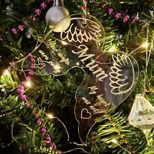 Angel Wings ~ Personalised Acrylic Christmas Tree Decoration ~ Memorial Bauble