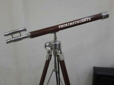 Nautical Double Barrel Brass Telescope Marine With Brown Wooden Tripod Stand
