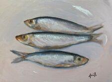 Jackie Smith Still Life Fish trio original art oil painting.