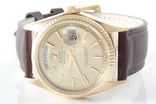 Rolex Mens 18K Yellow Gold Day-Date President - Champagne Dial - Brown Strap