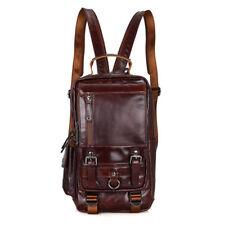 Men Genuine Leather Bag Backpack Travel Rucksack Cross body Messenger Sling Bags