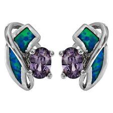 Amethyst & Australian Opal Inlay 925 Sterling Silver Earrings Jewelry, OP1