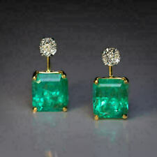 4.75 CT Green Emerald Cut 14K White Gold Over Diamond Retro Earrings 925 Silver