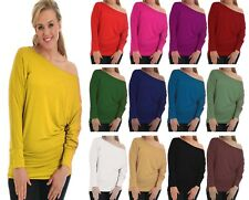 NEW LADIES BATWING TOP LONG SLEEVES OFF SHOULDER BAGGY SLOUCH PLUS SIZE 8--24