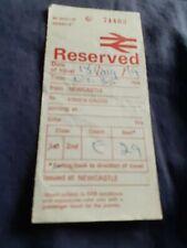 Brirish Rail Seat Reservation Label-Newcastle to Kings Cross