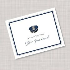 Personalized Police Academy Hat Graduation Thank You Note Cards