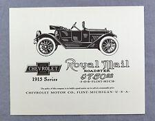 Vintage 1970's Chevrolet 1915 Royal Mail Roadster Advertisement Print