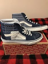 9816c9ac1ab3 Men s Vans Sneakers Sk8-Hi Patchwork Denim Blue Skateboarding Size 8 NEW