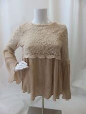 LUMIE Beige Embroidered Lace Bell Sleeve Blouse Top Size M