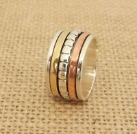 925 Sterling Silver Brass Copper 3 Tone Spinning Worry Band Ring Sizes K-S 1/2