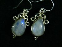 925 Solid Sterling Silver Collectible RAINBOW MOONSTONE HANDCRAFTED Earrings