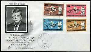 TOGO 1964  JOHN F. KENNEDY MEMORIAL OVPT ON LINCOLN  SET OF 4  FIRST DAY COVER