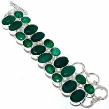 "Zambian Mines Emerald Gemstone 925 Silver Jewelry Bracelet 7-8"" AQ-2105"