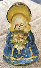 Antique cast iron door stop colorful girl flower bunch ORIGINAL PAINT floral hat