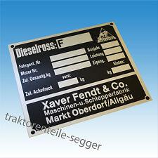Typenschild Fendt Dieselross Blanko Fahrgest. Nr. Baujahr Traktor Schlepper 179