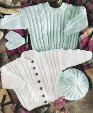 Baby Children Knitting Pattern Copy Cable Design CARDIGAN & Sweater Mittens Cap