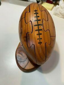 Viintage Wooden 3D Football Puzzle on Stand