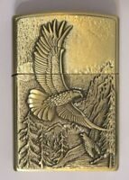 Engraved Eagle Bird Wing Hawk men Refillable Butane Gas Lighter Cigarette Gold