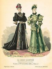 "French Fashion - ""LA MODE ILLUSTREE # 49"" - Hand-Colored Engraving - 1893"