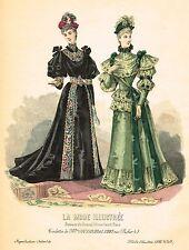 "French Fashion - ""LA MODE ILLUSTREE # 49"" - Hand-Colored Engraving - 1893"