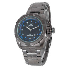 AK Black Stainless Steel Date Men's Army Sport Military Analog Quartz Watch Blue