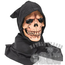 Halloween Evil Skeleton Grim Reaper Brown Skull Head With Hood Latex Party Mask
