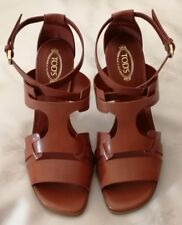 TOD'S Ankle Strap High Heels Leather Sandals Shoes Brown Size uk 3.5 eu 36.5