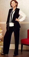 Black Velveteen Pants Vest Blouse 3 Piece OUTFIT Plus Sizes 1X 3X