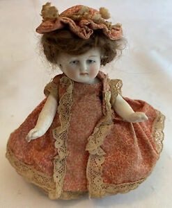 """Antique 4.5"""" Mignonette Bisque Doll Mold Marked 320/2 Dollhouse Paint Pink Boots"""
