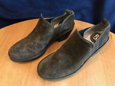 Fly London Wate Suede Leather Block Heel Slip-On Shoes 38 Brown / Women's 7.5 M