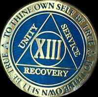 13 Year AA Medallion Blue Gold Plated Alcoholics Anonymous Sobriety Chip Coin