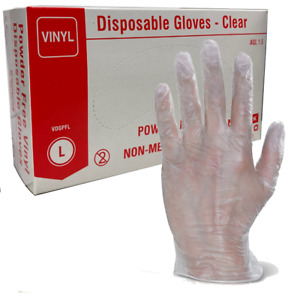 ~ 100 x CLEAR Powder & Latex Free Vinyl Gloves Pack of 100  All Sizes S,M,L,XL ~