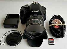 Canon 600D DSRL Camera 17-85mm Lens Hood 8GB SD Card Charger Shutter 26430