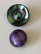 Iridescent Metallic Glass Vintage Buttons X2