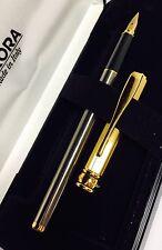 Penna stilografica Fountain Pen Vintage AURORA MAGELLANO Acciaio e Oro