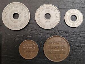 PALESTINE:-British protectorate, 5 coins dated 1927-39.  C007