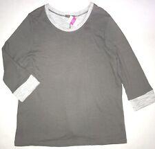 FRESH PRODUCE 1X Gray SMOKE Sunset FRENCH Terry 3/4 Sweatshirt Top NWT New
