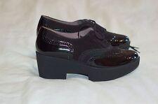 NWOB Robert Clergerie Black Patent Leather Suede Platform Oxford Shoes Sz 71/2 B