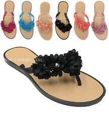 551f0badf NEW Women s Flower Petal Decorated Flat Flip Flop Jelly Thong Sandals 5 to  10